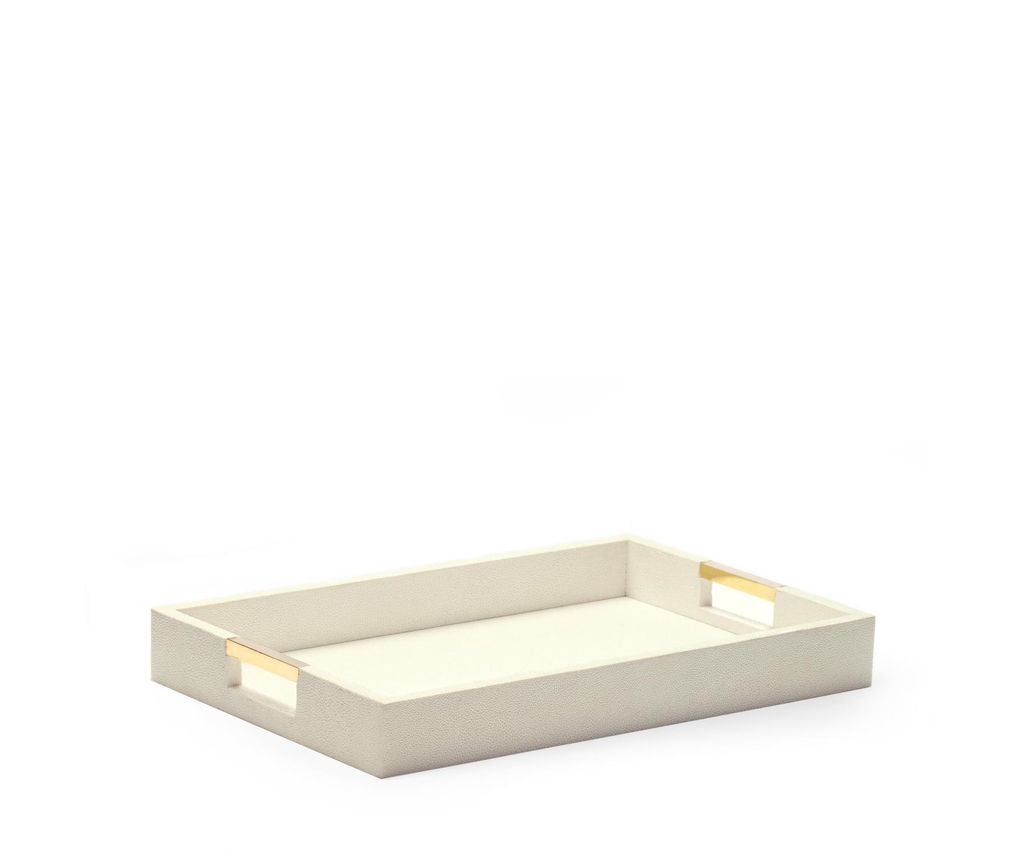 Aerin AERIN - Modern Embossed Shagreen Desk Tray - Cream - 37.5x24x4.5cm