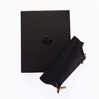 Lepaar Lepaar - Bolted Catch All - Black Kangaroo Leather - Solid Brass - 18x15x3cm