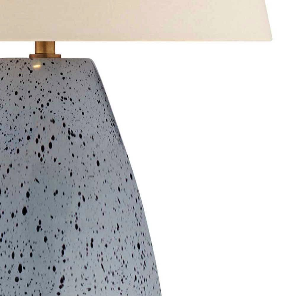 Kelly Wearstler Kelly Wearstler - Revello Table Lamp in Mottled Light Grey with Linen Shade