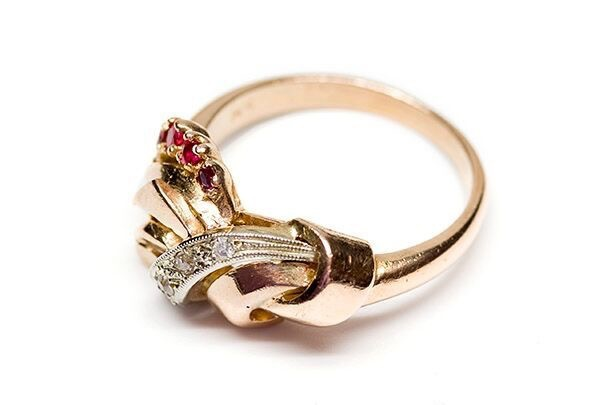 B.M.V.A. Vintage Diamond and Ruby Dress Ring - 14ct Yellow Gold - Size K 1/2 c1940