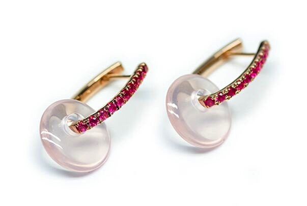 Stenmark - Discus Earrings Pink Sapphire - 14ct Pink Gold with Rose Quartz.