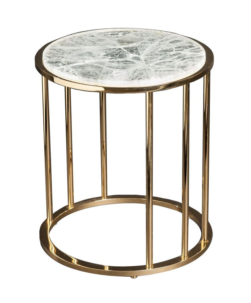 Picture of: Round Side Table Of Gilt Brass With Hyaline Quartz H52xd44 Cm Becker Minty