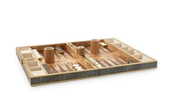 Aerin AERIN - Chocolate Embossed Shagreen Backgammon Set