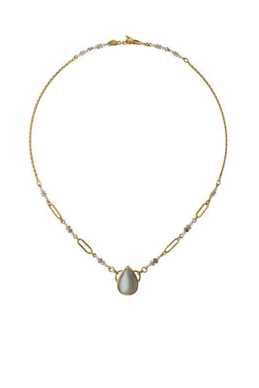 Lisa Black Jewellery - Moonstone Empire Necklace - 22ct gold