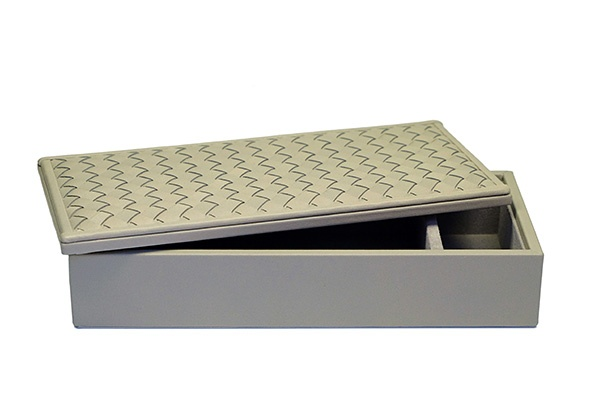 Riviere Riviere - Rectangular Woven Leather Box - Grey - Handmade in Italy - 25x10x5.5