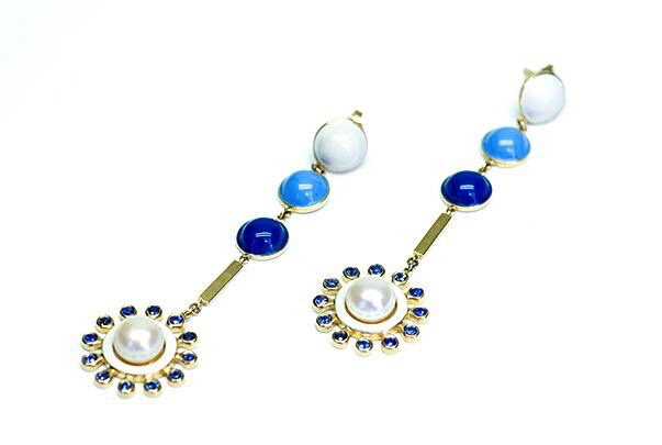 Stenmark - Colourburst Blue Sapphire Earrings - 14ct Yellow Gold.