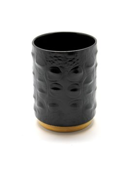 L'Objet L'Objet - Black Crocodile Pencil Cup - Porcelain with 24ct Gold Plate Detail - 7x10cm