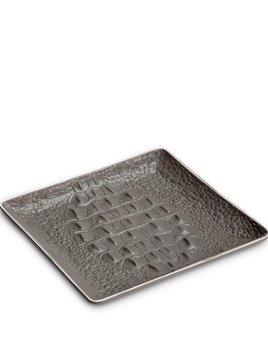 L'Objet L'Objet - Grey Crocodile Square Desk  Tray or Catch All  - Porcelain with Platinum Plated Detail - 15x15cm