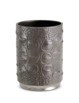 L'Objet L'Objet - Gey Crocodile Pencil Cup - Porcelain with Platinum Plated Detail - 7x10cm