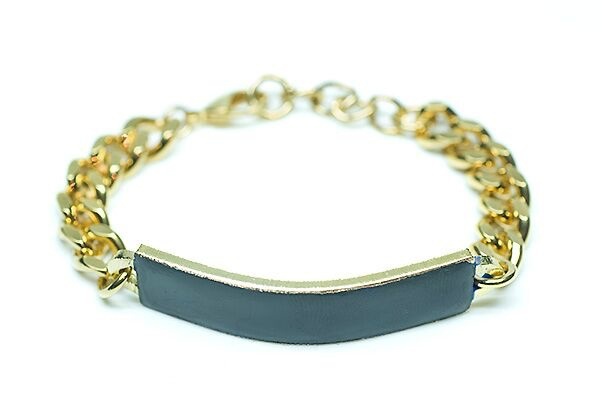 Alquimia Alquimia - Goumette Bracelet  with Enamel  Large - Gold plated copper - Blk - Handmade in Paris