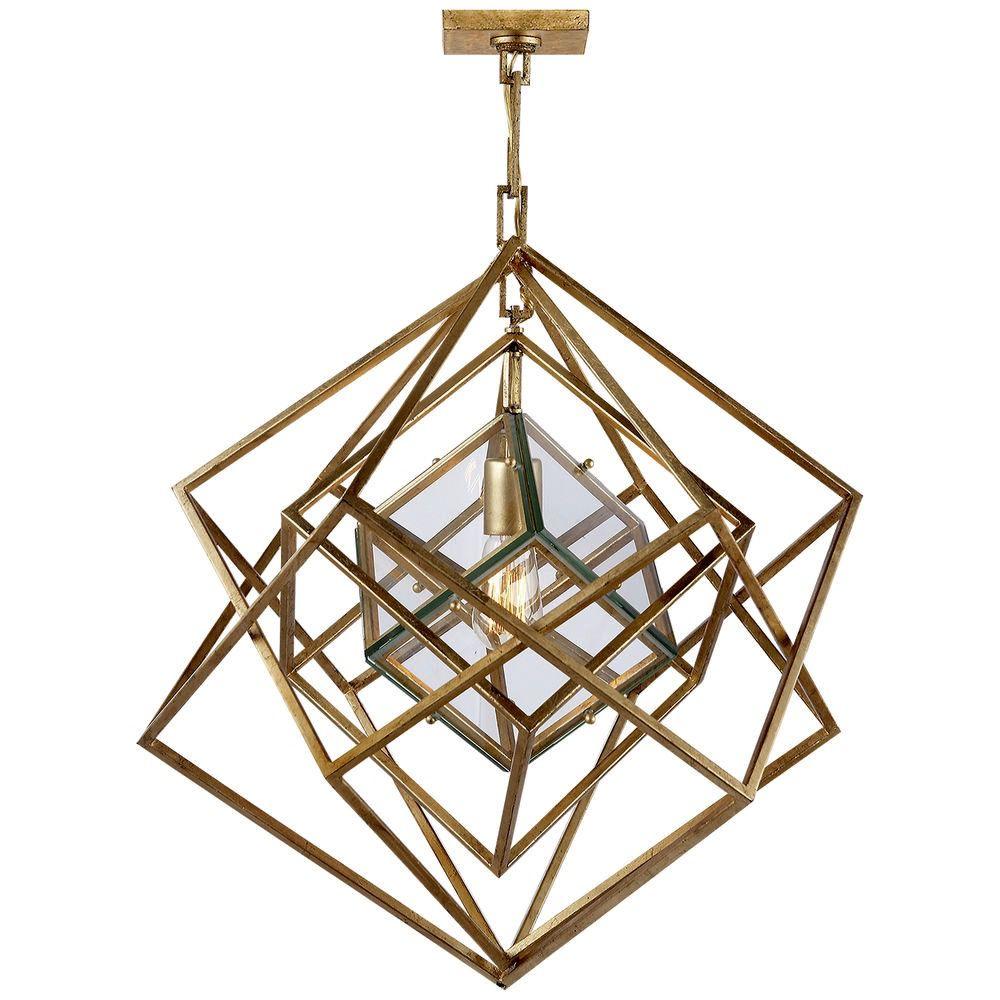 "Kelly Wearstler Kelly Wearstler - Cubist Small Chandelier in Gold Gilded Nickel - Fixture Height: 25.5"" Width: 22"" Canopy: 4.5"" Square"