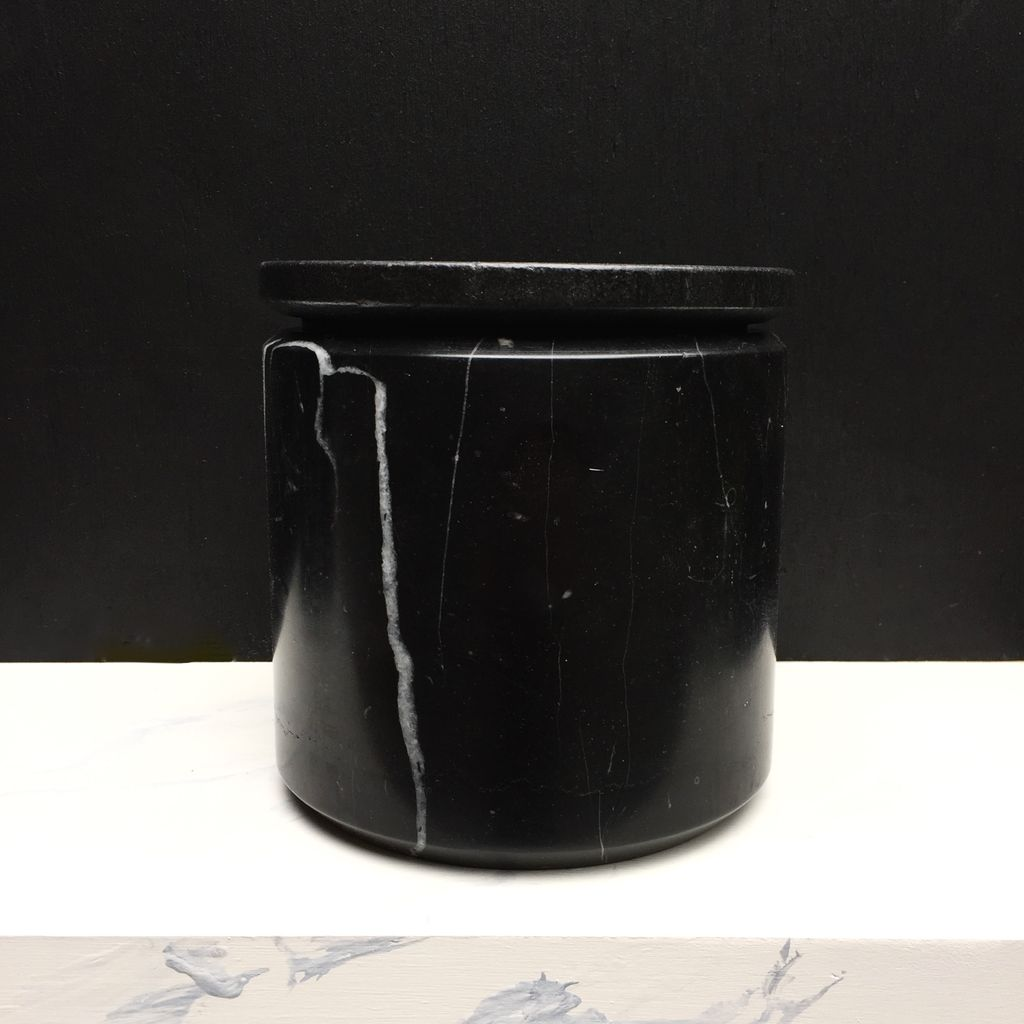 BECKER MINTY BECKER MINTY - DIETER Canister 6  - Round Box (fits medium orchid) Black Marble H16xD16cm