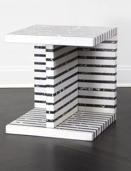 "Kelly Wearstler Kelly Wearstler - Lineage Occasional Table  -  White Calacatta & Negro Marquina Marble - 20"" W x 20""D x 22"" H"