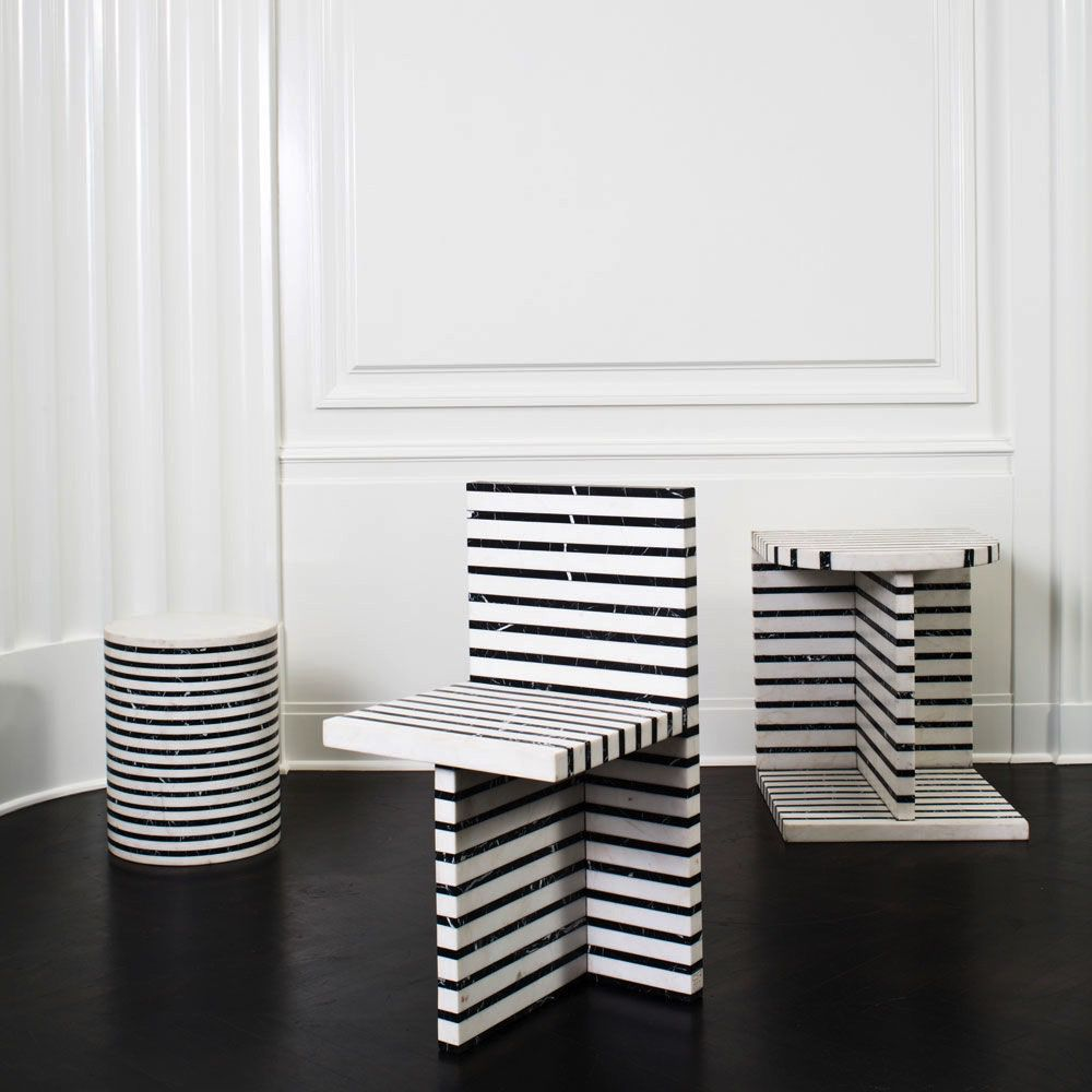 """Kelly Wearstler Kelly Wearstler - Lineage Occasional Table  -  White Calacatta & Negro Marquina Marble - 20"""" W x 20""""D x 22"""" H"""
