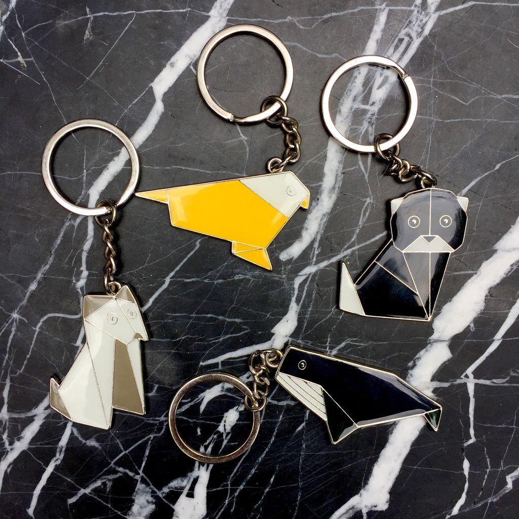 BECKER MINTY BECKER MINTY Origami Animal Keyring - Grey Puppy Dog