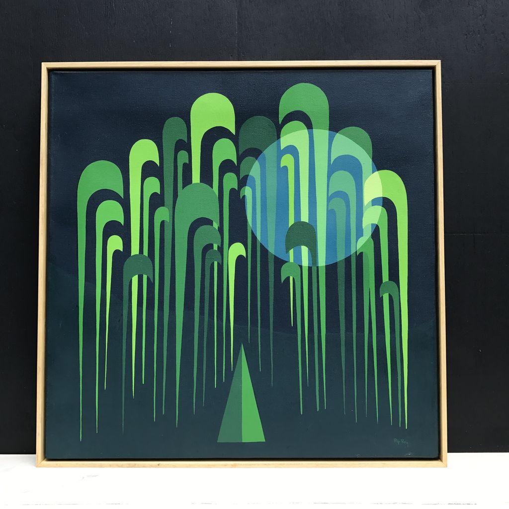 Vintage Artwork - Green - Pip Roy 1980's Style - Natural Timber Shadow Frame 63x63cm (Framed)