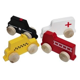 Manny & Simon Wooden Push Toy -  Mini City Vehicles
