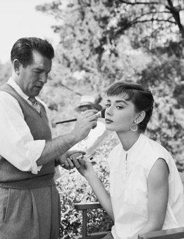 Mark Shaw Photography - Audrey Hepburn, Wally Westmore on the Set of Sabrina