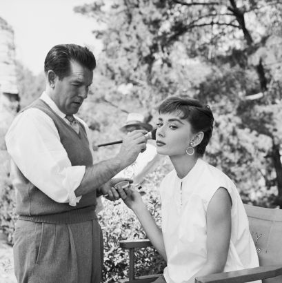 Mark Shaw Photography - Audrey Hepburn, Wally Westmore on the Set of Sabrina