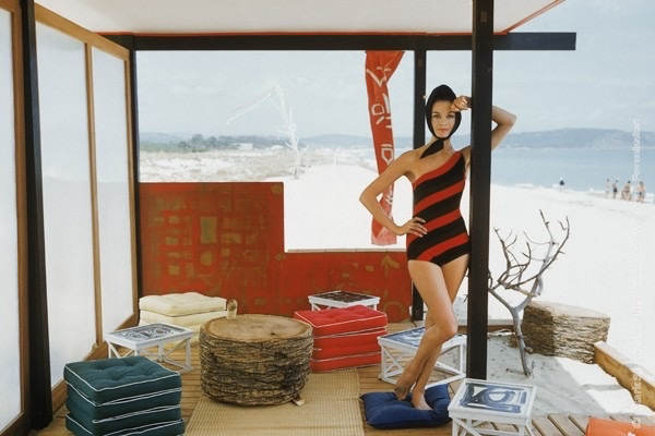 Mark Shaw Photography - One Shouldered Maillot in St. Tropez Beach Cabana 1961