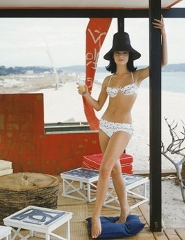 Mark Shaw Photography - White Bikini in St. Tropez Beach Cabana 1961 (standing)