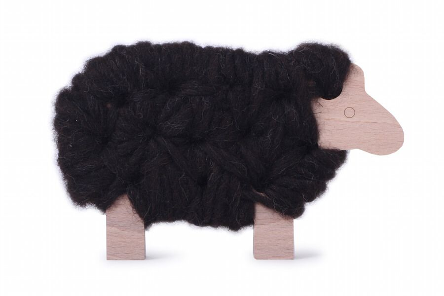 Les jouets Libres Woody - The Sheep - To be Knitted - Dark Brown