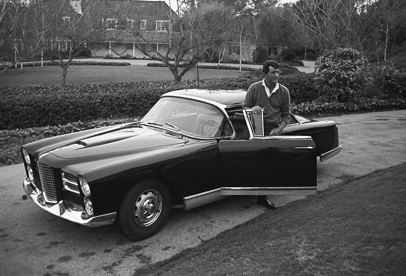 Dean Martin and his Facel Vega HK500 in the driveway of his Beverly Hills home on Mountain Drive 1961 - Sid Avery