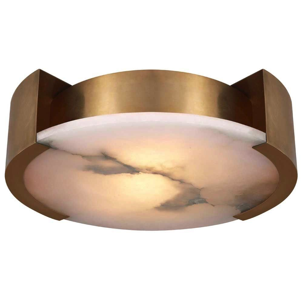 Kelly Wearstler Kelly Wearstler - Melange Large Flush Mount Lamp in Antique -Burnished Brass with Alabaster - <br /> H 12.7cm W 43.18 cm