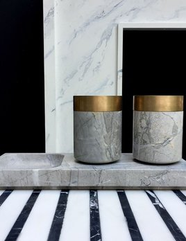 Michael Verheyden Michael Verheyden - BATHROOM LUX - Cup or container (one only) in grey marble with solid bronze - Belgium
