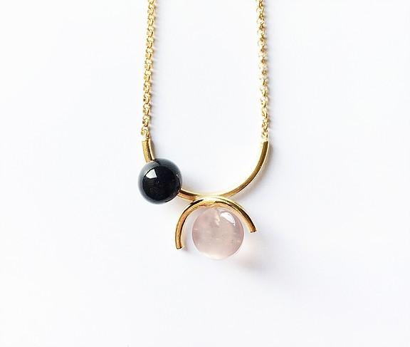 Ana Joao Ana Joao - Candy Necklace with Rose Quartz and Onyx