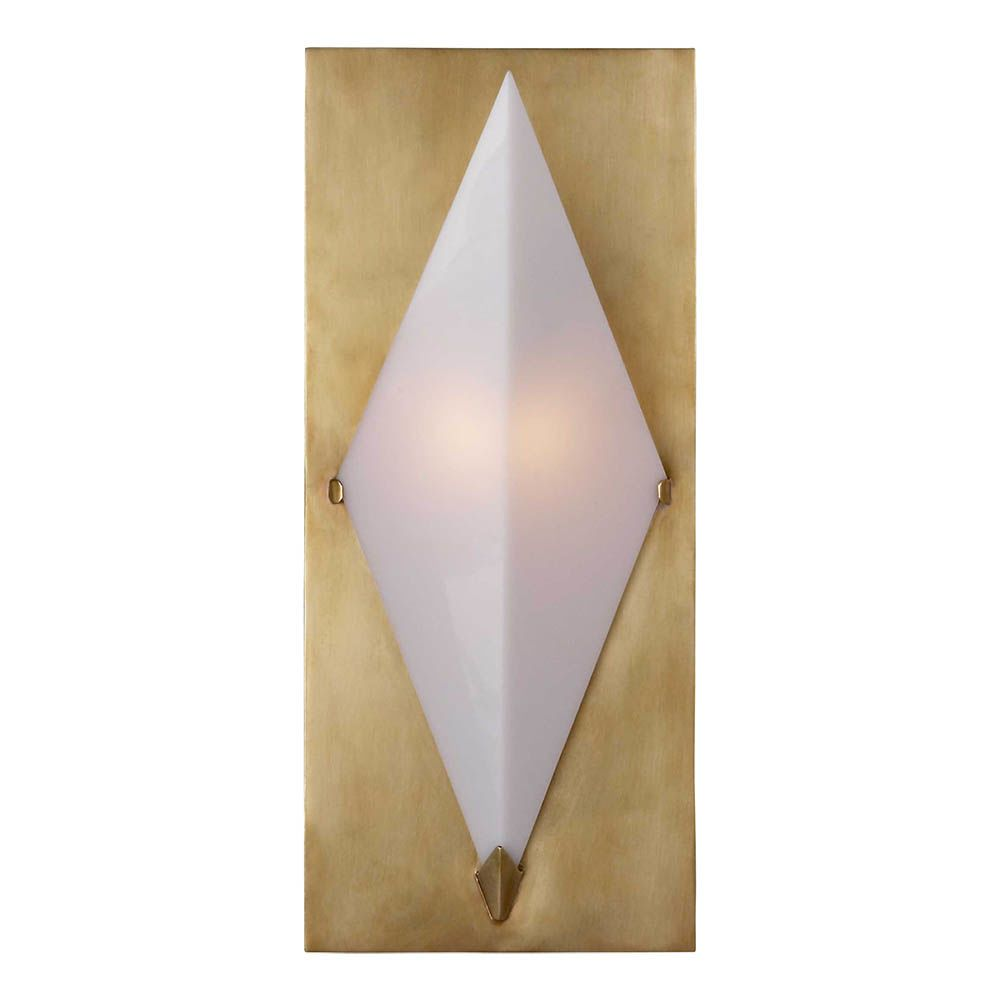 Kelly Wearstler Kelly Wearstler - Forma Sconce in Antique - Burnished Brass with White Glass