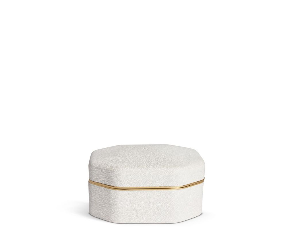 Aerin AERIN - Embossed Shagreen Octagonal Box - Cream