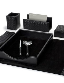 riviere Riviere - Leather Desk Set - Handmade in Italy - Blk