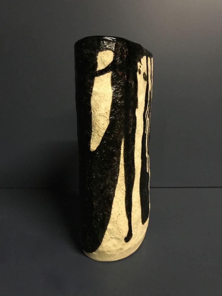 shapiro Ikebana Vase - Japanese Studio Pottery - H26xD13cm - Showa Period c1960