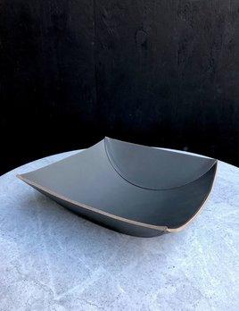 B.Home Interiors Rabitti - Lambda Large Bowl - Graphite Saddle Leather - 34x33x9cm