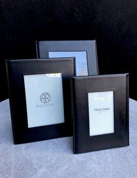 B.Home Interiors Rabitti - Simple Large Photo Frame - Black Saddle leather - Black - 26x33cm