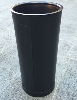 giobagnara Pierre Umbrella Stand - Printed calfskin leather with black stitching - Black - Bronze detail  - 23x50cm