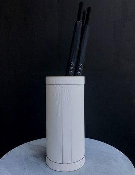 giobagnara Pierre Umbrella Stand - Printed calfskin leather with white stitching - White - Bronze detail  - 23x50cm