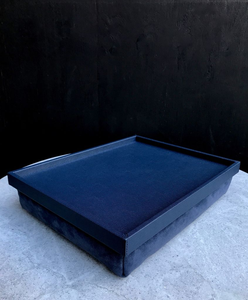 B.Home Interiors Teddy Bed Tray - Printed calfskin leather - Royal Blue with Blue Stitching - Large - 54x44.5x8cm