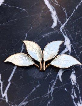 Vintage Enamel Brooch - White enamel sterling silver -  Designed Willy Winnaess for David Andersen