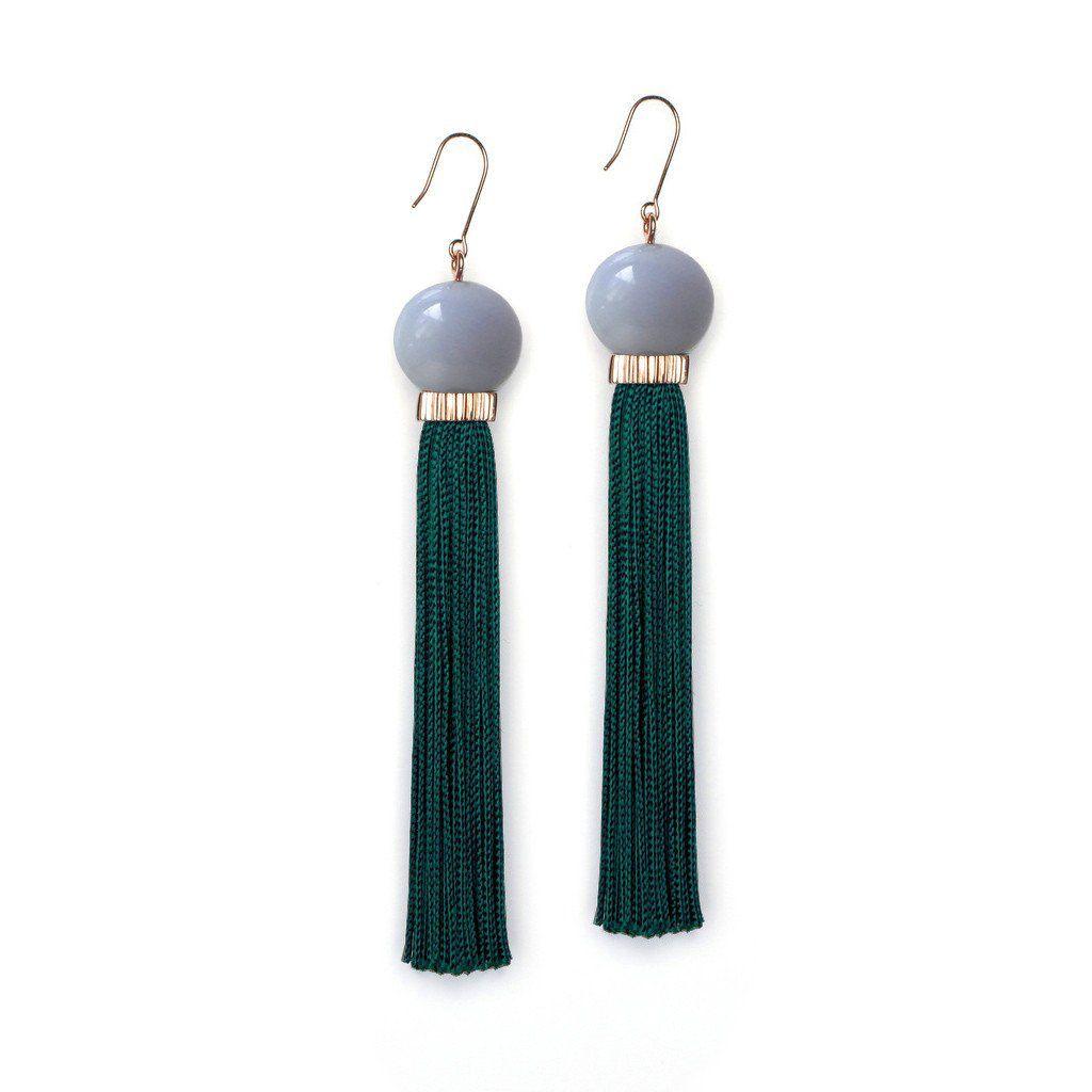 Studio Elke - Tremble Tassel Earrings - Blue Lace Agate Resin Sphere with Teal Tassel - Solid Gold Hook