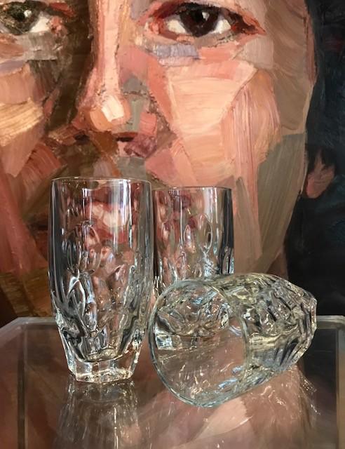 B.M.V.A. Vintage Set (6) Glass Highball Tumblers c1970