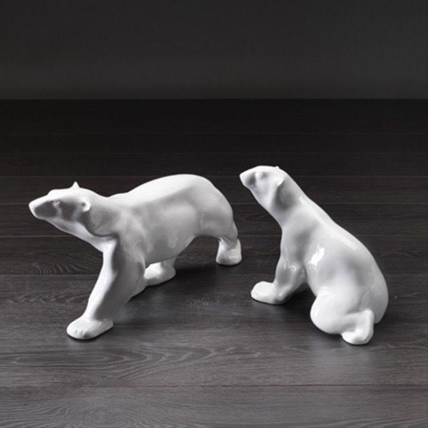 Home Ceramic Polar Bear Standing - Gloss White (LHS Image)