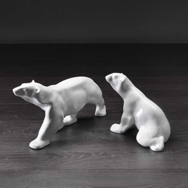 Home Ceramic Polar Bear Sitting - Gloss White (RHS Image)
