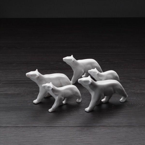 Home Ceramic Mini Polar Bear - Gloss White H7xL12cm (Smaller one in Image)