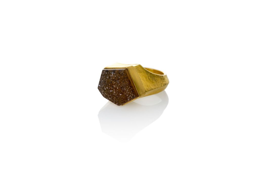 Lisa Black Jewellery - Druse Cocktail Ring with 22ct gold - Handmade in Australia