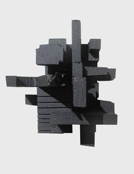 Haiku 3.3 - Dan Schneiger Geometric Wall Sculpture - Black Rubber - 20.5x25.5cm