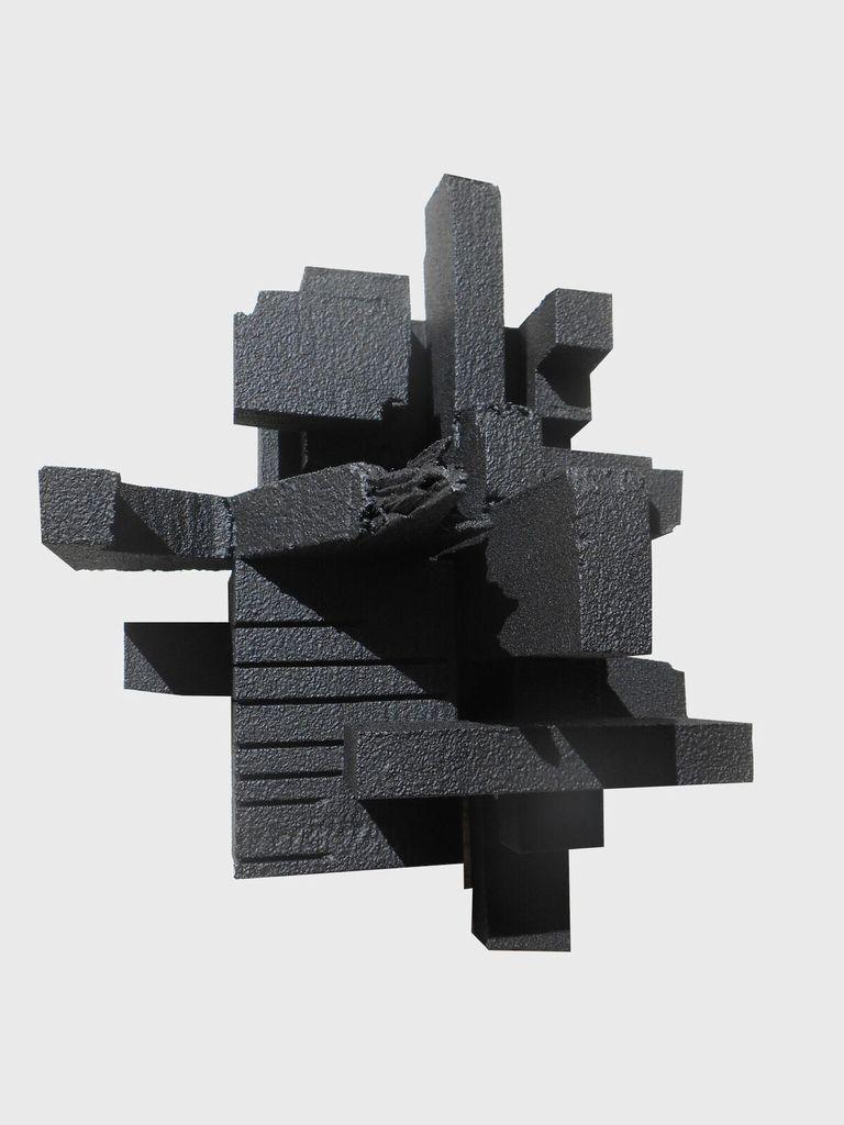 Haiku 3.3 - Dan Schneiger Geometric Wall Sculpture - Black Rubber - 20.5x25.5cm