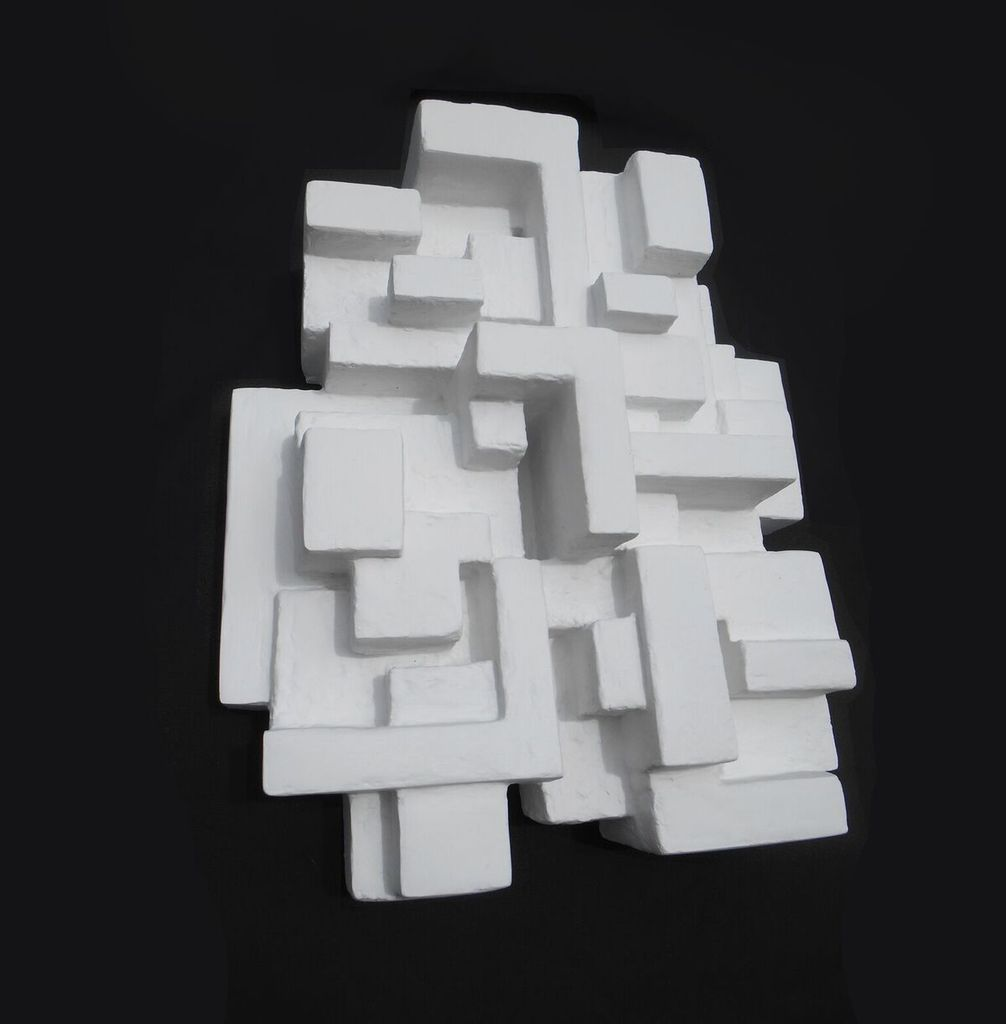 Villa I - Dan Schneiger Geometric Wall Sculpture - White Resin Coated Recycled Materials - 41x51cm