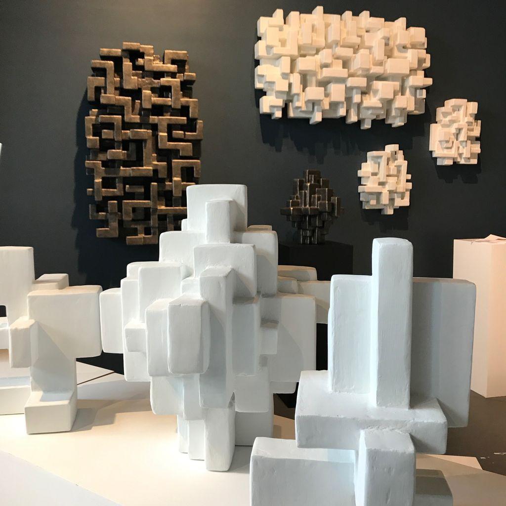 Dan Schneiger Haiku 3.6 - Dan Schneiger Geometric Wall Sculpture - White Rubber - 20.5x25.5cm